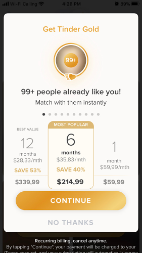 how does tinder make money premium model