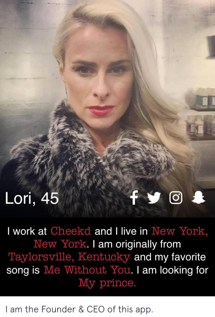 cheekd proximity dating app profile