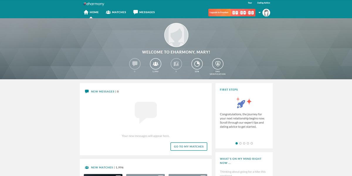 start a dating website eharmony ux design