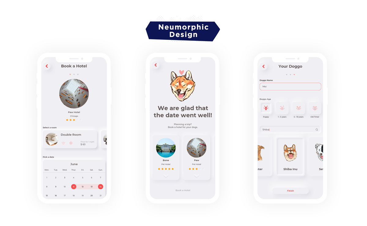 cool app design trend neumorphic design example