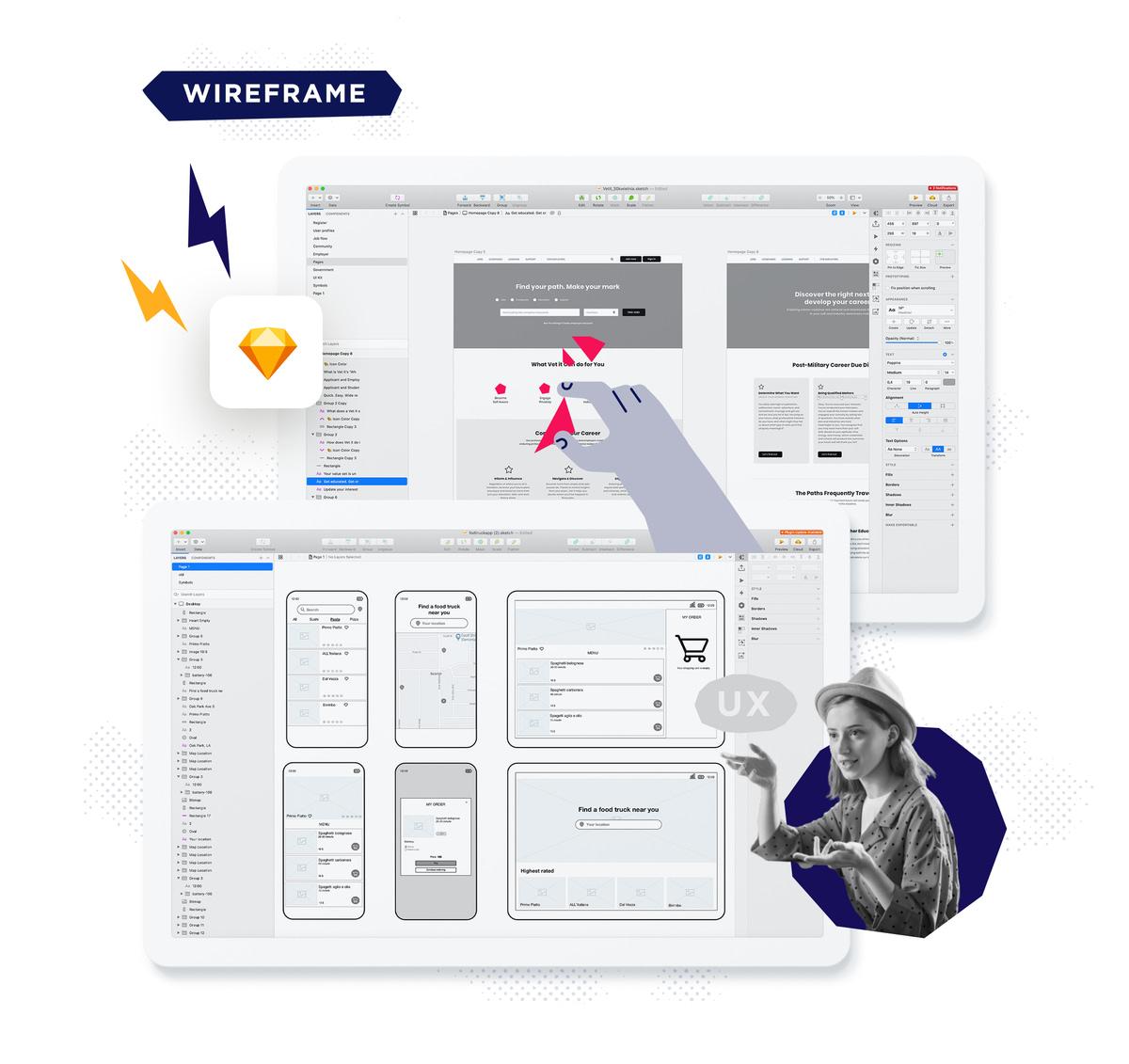 wireframe app design template